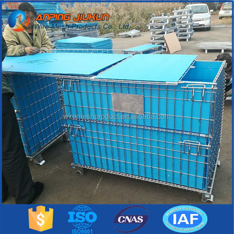 Professional stackable logistic security rolling metal storage cage