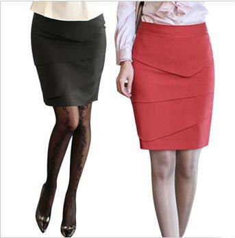 Office Lady Pencil Skirt Formal Knee Length Straight Dress Peplum ...