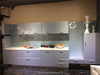 slab and flat pack kitchen cabinet with belfast sink/galley kitchen