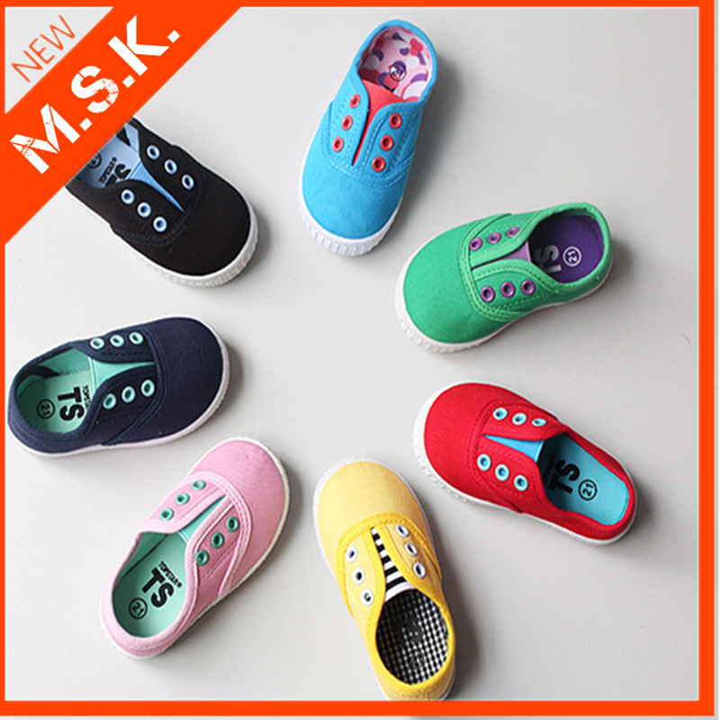 2016 latest children fashion candy color canvas shoes