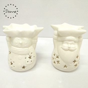 2017 new design white glazed aromatherapy ceramic christmas oil burner