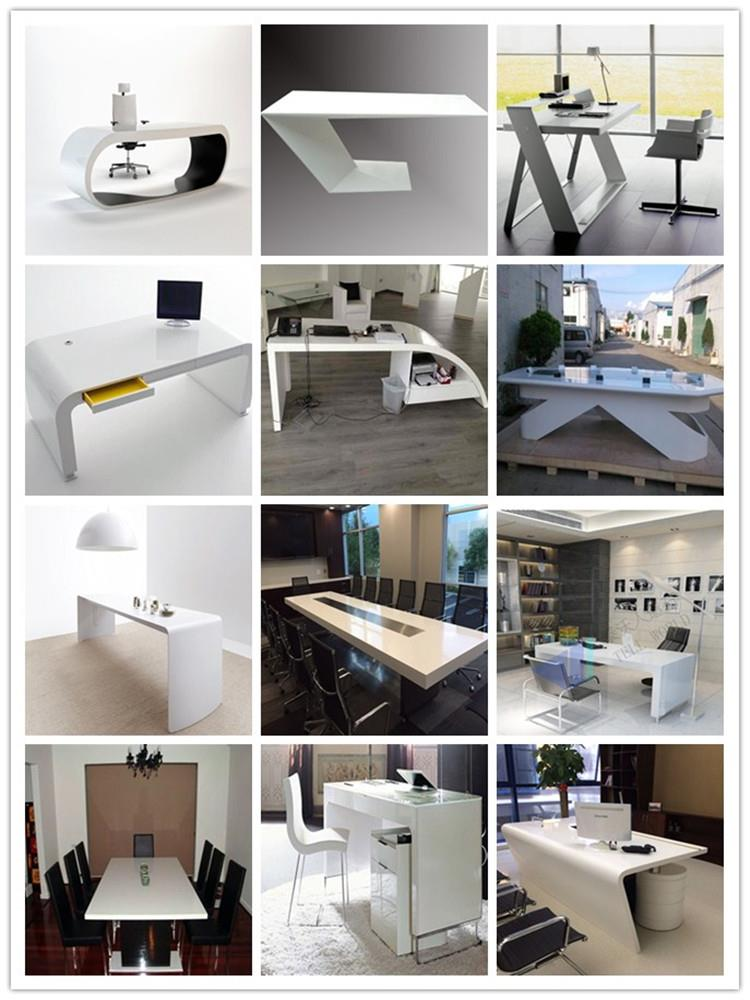High End Office Furniture Solid Surface Executive White Office Table Boss Office Desk Set Google Desk