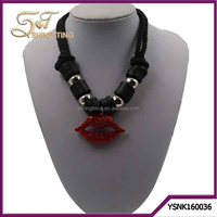 Antique Jewelry Statement Necklaces for Women Rhinestone Red Lips Pendant Necklaces