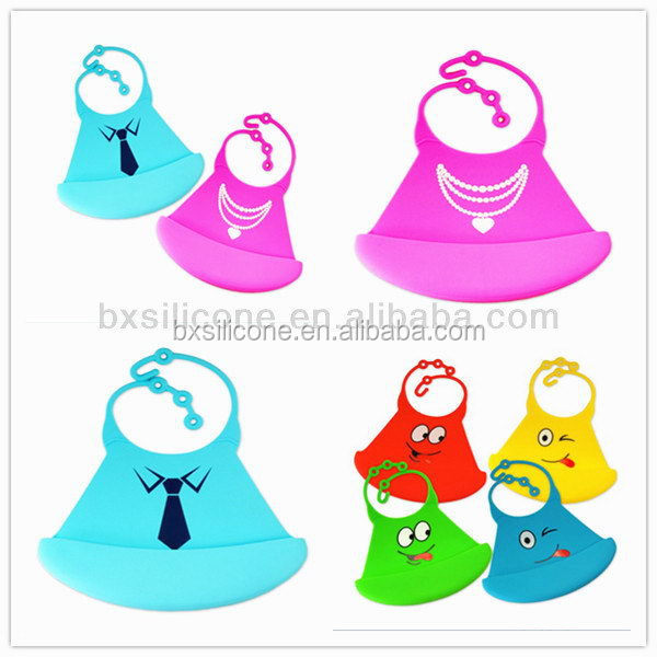 Popular useful lovely silicone rubber baby bibs