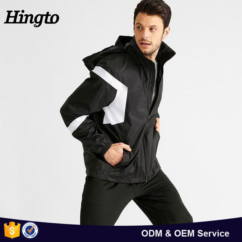 OEM & ODM design men plain black color polyesterClassical full zip black color nylon polyester men winter jacket cheap wholesale