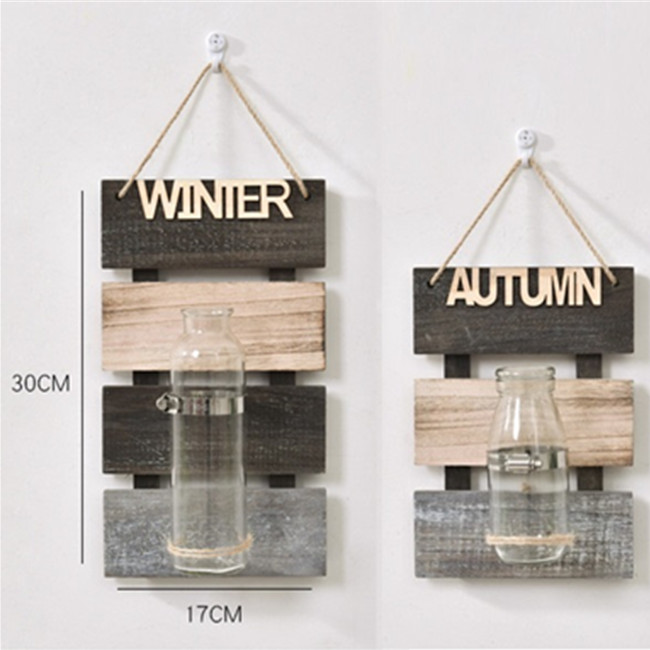 Simple Natural Personality Wooden Board With Glass Bottle For Bar Decoration