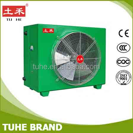 Agriculture farm air to water heat exchanger with fan
