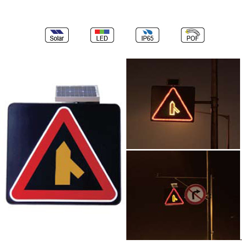 Waterproof IP65 Solar Powered(Charging) Traffic LED & Optical Fiber Sign Light (Joined Road From RIght Side)