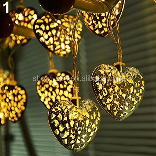 20 LEDs Battery Operated Filigree Metal Heart Shape Fairy String Lights Wedding Garden Party Christmas Decoration