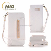 ladies handbag design leather wallet Metal strip Mobile phone case For apple iphone 6 6s plus