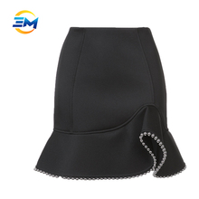 Fashion women sexy club dress with mini skirt pictures slim flounce hem beaded short skirt