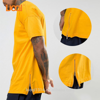 Guangzhou Luoqi Hot Sales 100% Cotton 180g Yellow With Side Zipper Plain Men Custom T Shirt