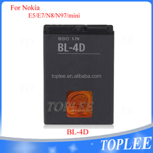 China External battery for model bl-4d E5 E7 N8 N97 mini rechargerable battery in black color with best price