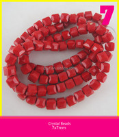 Beads Jewelry Crystal Strands Beads 7*7 mm Red Glass Loose Beads Wholesale