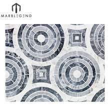 hot sale custom friendly Price chic flooring design water jet marble Mosaic Tile
