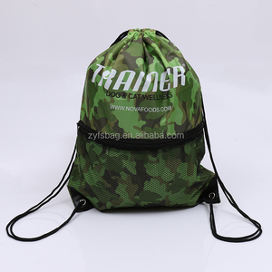 Camouflage fabric drawstring backpack polyester bag with mesh pocket