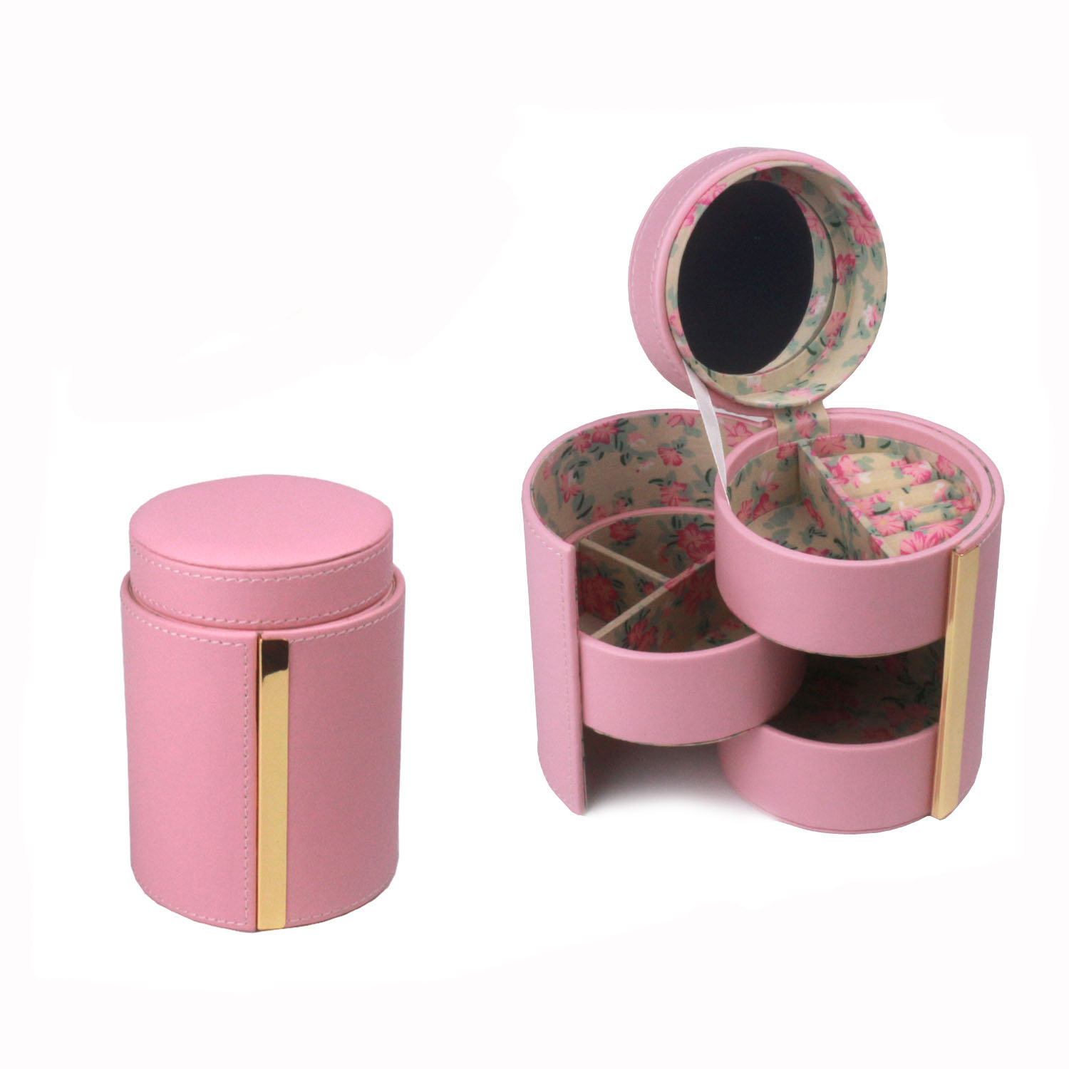 Pink round shaped three turnable box  jewelry box with metal fittings