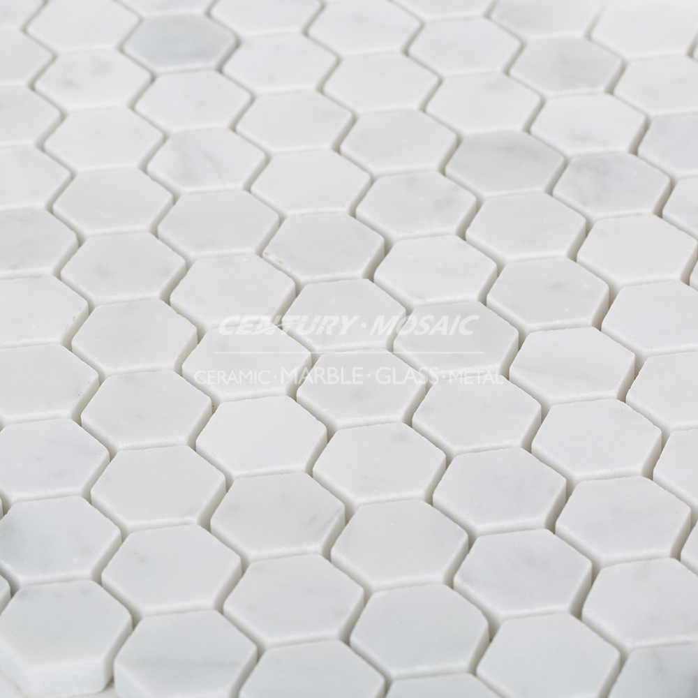 "1"" Hexagon Shape Polished Marble Statuary White Mosaic Tile For Kitchen"