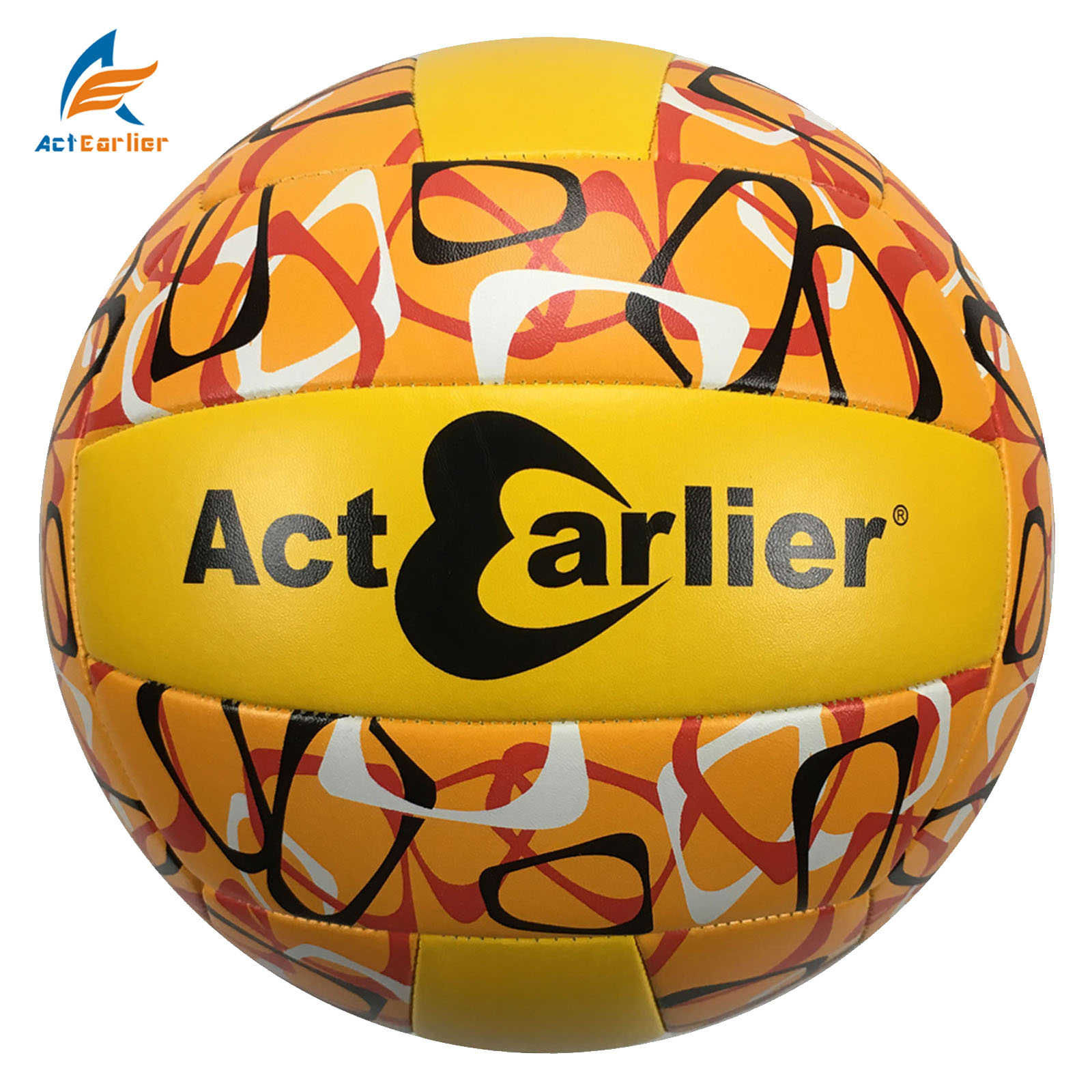 ActEarlier sports toy volleyball training equipment rubber bladder volleyball ball in white yellow blue for gift