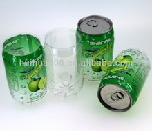 Plastic clear PET easy open can for carbonated drink / fruit juice