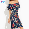 Yihao Summer 2017 Clothes Womens Short Sleeve Multicolor Floral Print Off The Shoulder Ruffle Sheath Dress