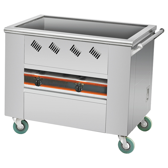 Stainless steel food warmer service trolley used restaurant kitchen equipment