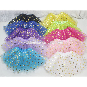 Top quality Wholesale Fluffy Chiffon Baby Girls Children Gold Polka Dot Tutu Princess Dance Party Tulle Skirts