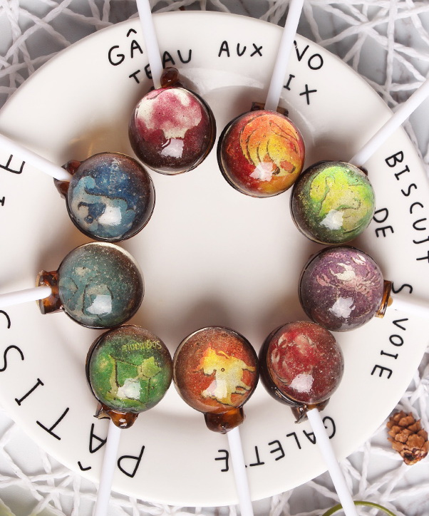 18g 12 Twelve constellations Handcrafted Planet Designs Lollipops Galaxy Series Space Foil Gift Pack