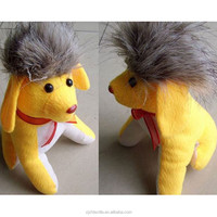 brown hair yellow body animal lion style stuffed dog toys