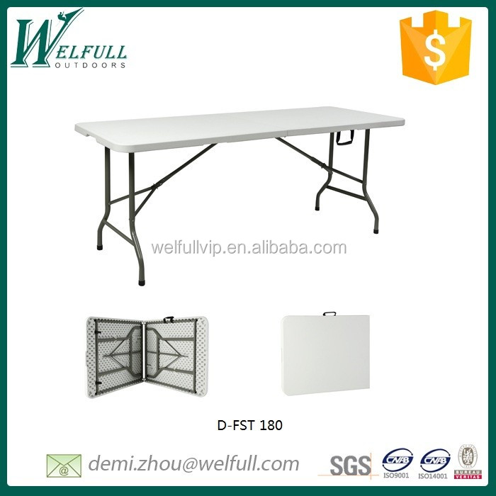Wholesale cheap Fold-in-half plastic rectangle table 180cm for banquet, feast, garden party