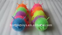 cute colorful flashing worm and caterpillar puff ball plastic toys