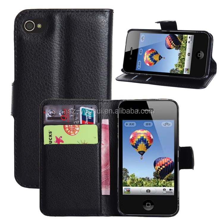 Wholesale Folio Stand Case for iPhone 4 4s PU Leather Flip Cover with Wallet
