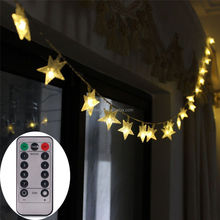 [Remote & Timer] Battery Operated Christmas Star LED String Lights 5 Meter 50 LED Fairy String Lights for Indoor & Outdoor