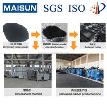 Continuous waste tire recycling plant