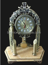 Antique brass Table Clock, French Rococo Marble Base Table Clock, Vintage Mantel Clock