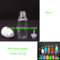 clear needle bottle 10ml PET plastic dropper bottle with childproof caps and fine tips for E liquid