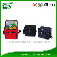 hot selling polyester wholesale insulated wine cooler bag with zipper front pocket