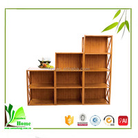 Hot selling bamboo modern corner bookcase