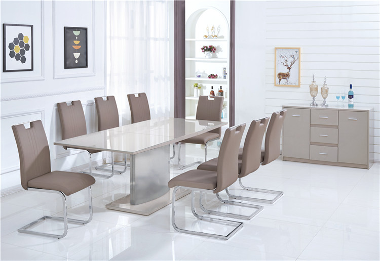 China Wholesale Living Room Furniture MDF Wooden Extendable 6 seater Dining Table Set and Chairs