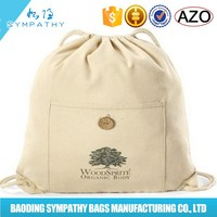 fashion drawstring jute calico bag