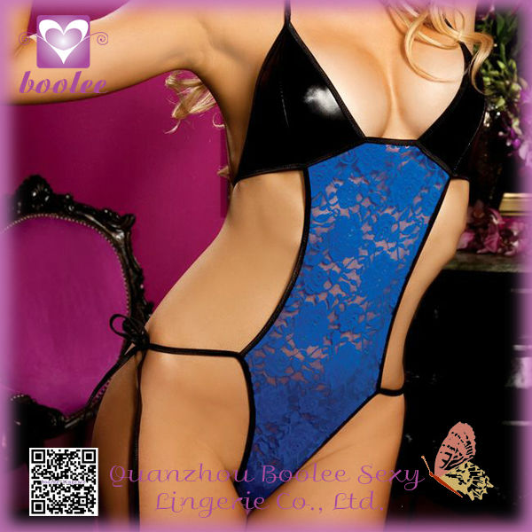 2014 High Quality Blue Mature Girl Lace Satin Lingerie Pics