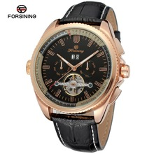 Forsining Day/Date, Complete Calendar, Auto Date Tourbillon Feature and Genuine Leather Material Gent wrist watch