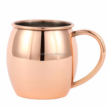 High quality Copper Plating 0.6mm thickness Stainless steel Moscow Mule Mug with solid handle in copper plated