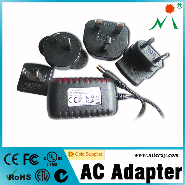 Interchange plug 5v 2a ac dc power adapter