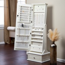 Floor Jewelry Armoire with Mirror Drawer, Floor Jewelry display cabinet with cheval mirror