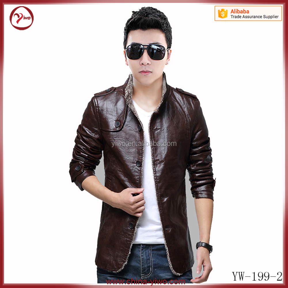 Slim fit outwear pu leather man bomber jacket