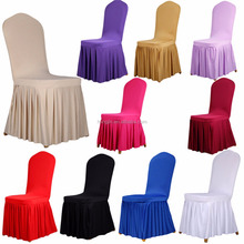 Dining Room Wedding Banquet Chair Covers Pleated Stretch Seat Cover