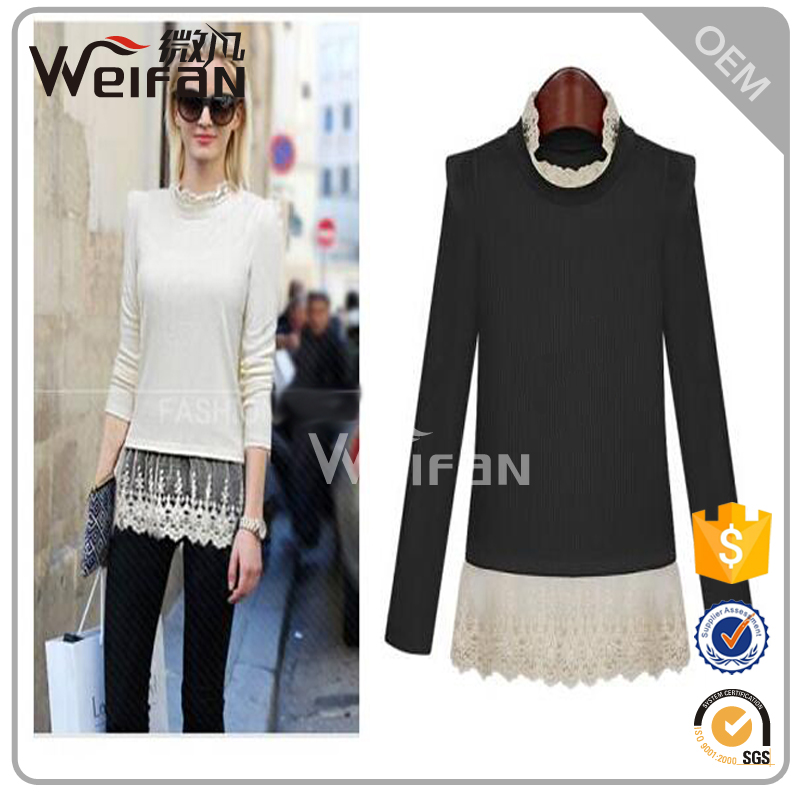 White Lace Coat Puff Long Sleeve Cotton Ladies Blouses&Tops
