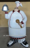 POLYRESIN CHEF FIGURINE W/DISH