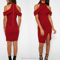 JH1706 Off shoulder sleeve red dress woman fashion design women dress